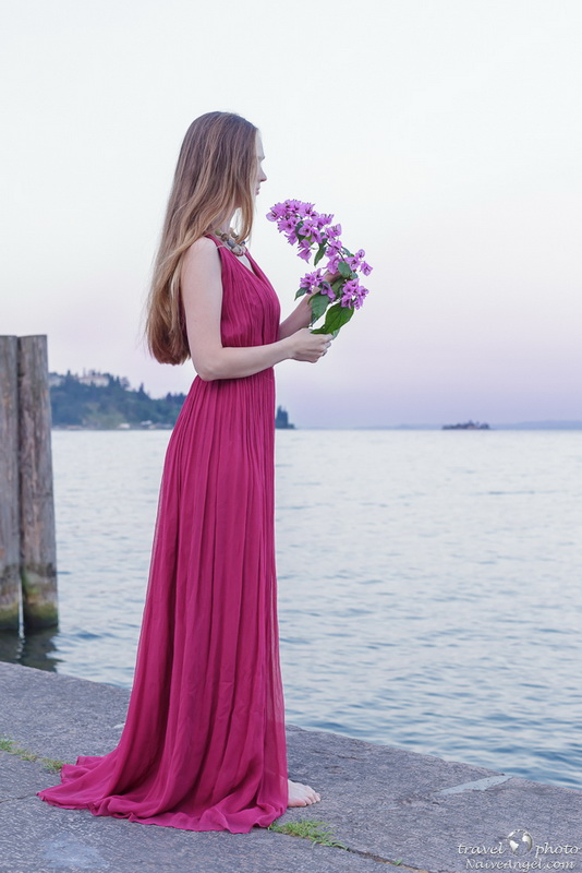 девушка на рассвете,photosession, garda lake,malcesine,italy