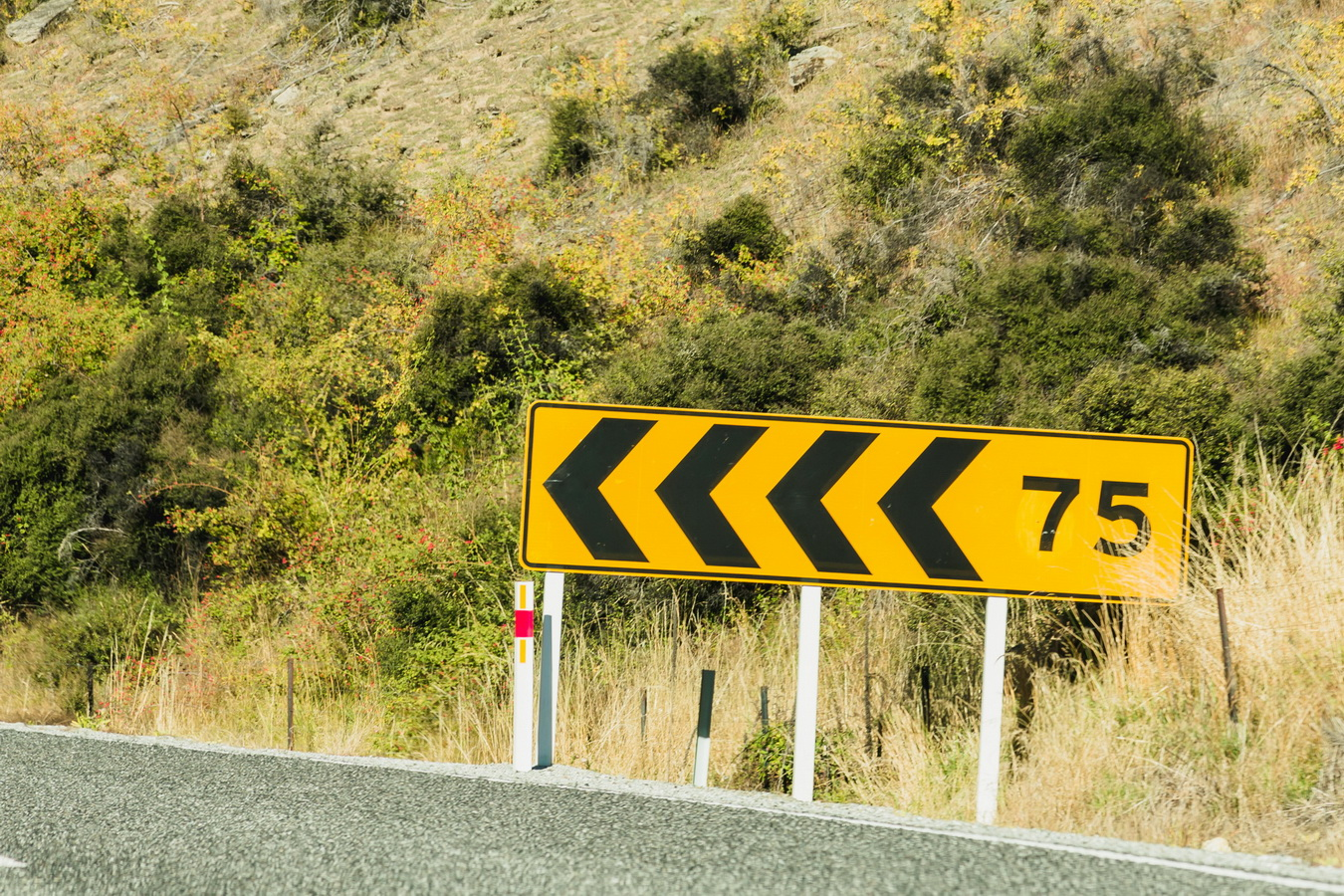 turn left, road, car, road sign, new Zealand