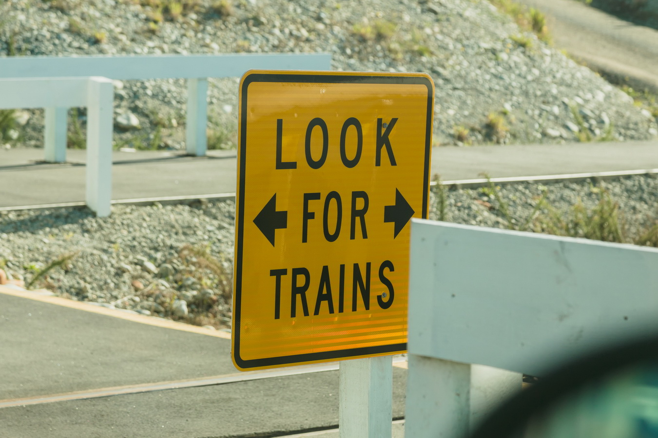 look for trains,trains on the road, road, car, road sign, new Zealand