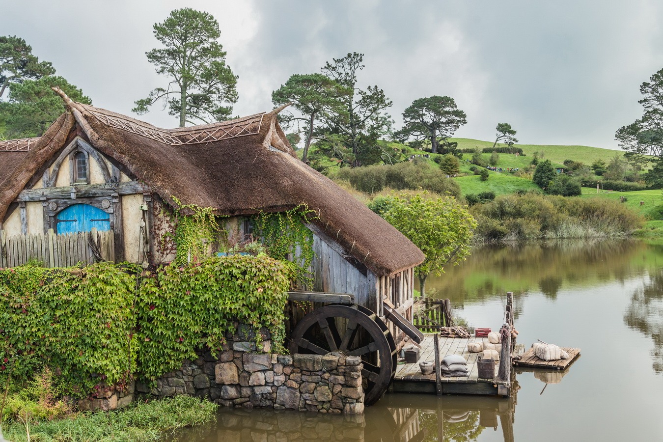 mill, lake,The Hobbiton, The Shire,Хоббитшир, Удел, Хоббитания, Заселье, Край,Matamata, North Island ,New Zealand