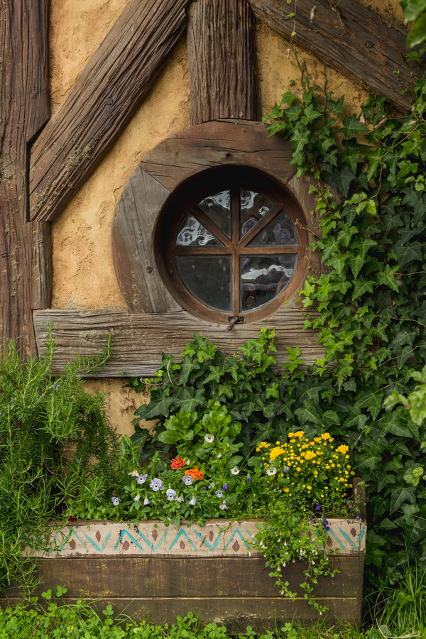 round window,The Hobbiton, The Shire,Хоббитшир, Удел, Хоббитания, Заселье, Край,Matamata, North Island ,New Zealand