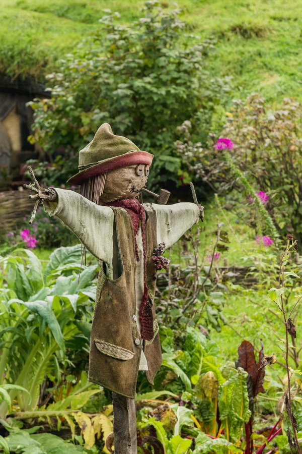 Scarecrow,garden,The Hobbiton, The Shire,Хоббитшир, Удел, Хоббитания, Заселье, Край,Matamata, North Island ,New Zealand