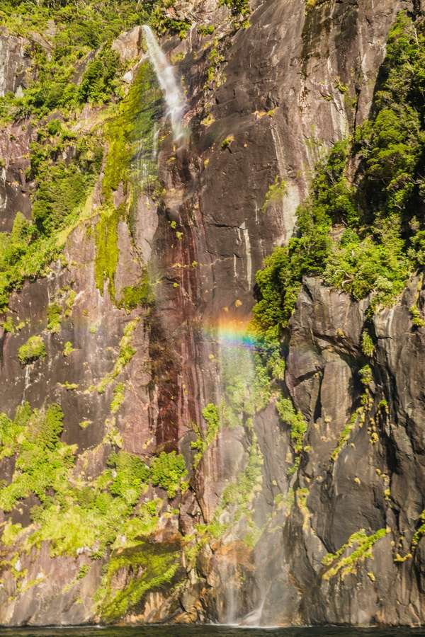 rainbow,Twin Waterfalls, Milford Sound, Fjord land, Fjordland National Park,South Island ,New Zealand