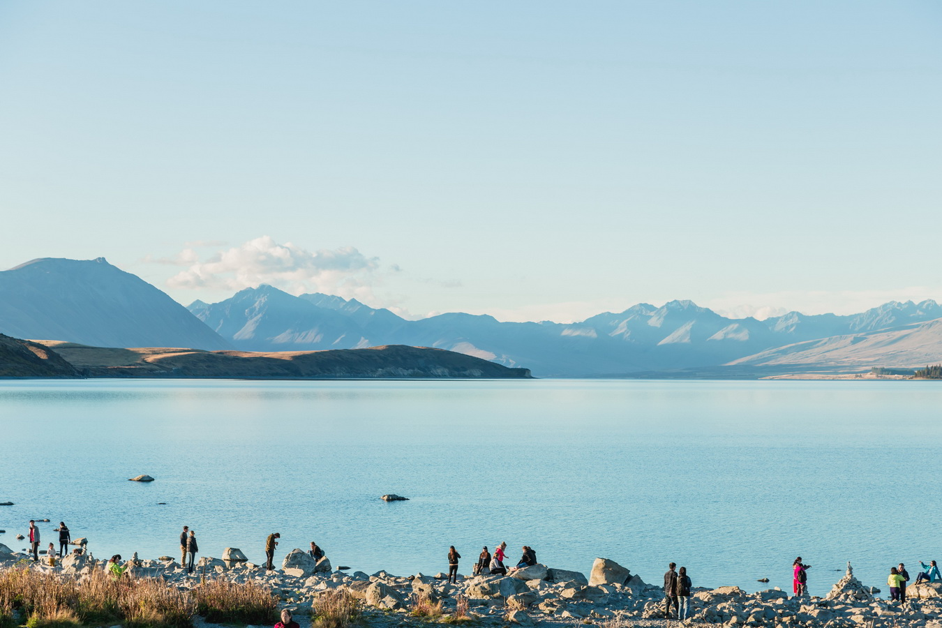 tourists,Lake Tekapo, Mount Cook National Park, South Island ,New Zealand