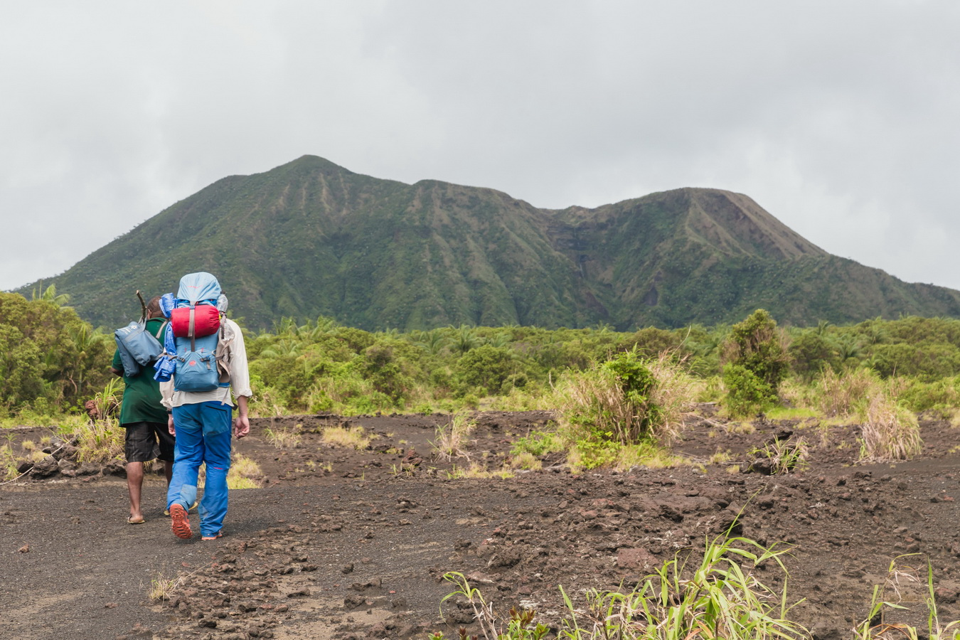 local guide,north camp,lava fields,crater,volcano,Ambrym, Vanuatu