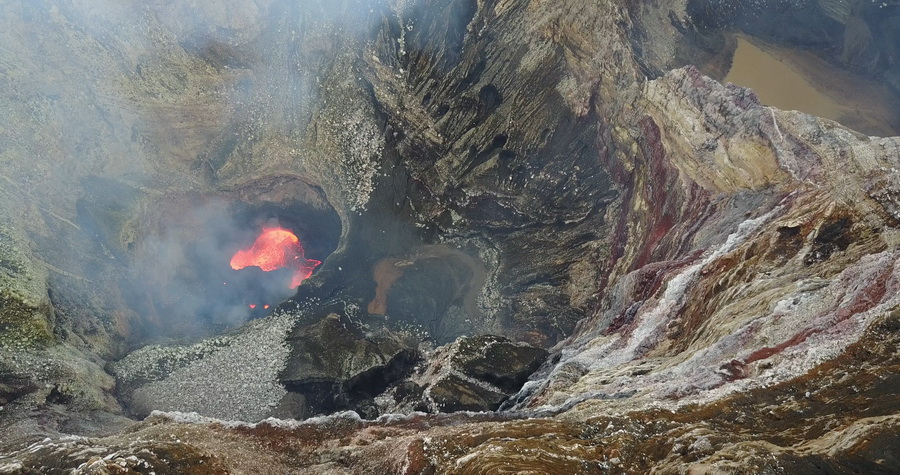 drone, from the air,boiling lava,lava, lava lake,crater edge,marum,crater,volcano,Ambrym, Vanuatu