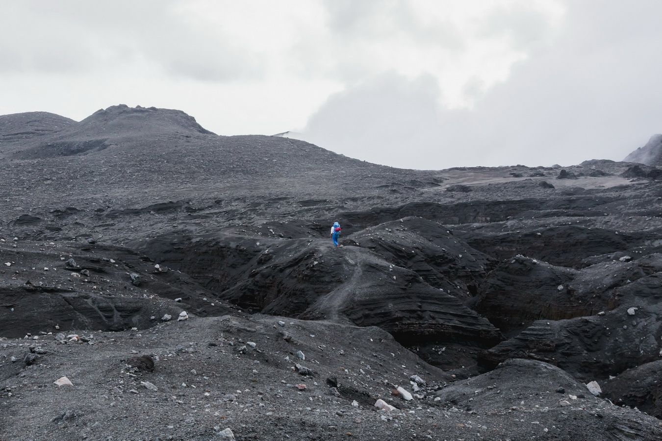 way to west camp,lava fields,clouds,crater,volcano,Ambrym, Vanuatu