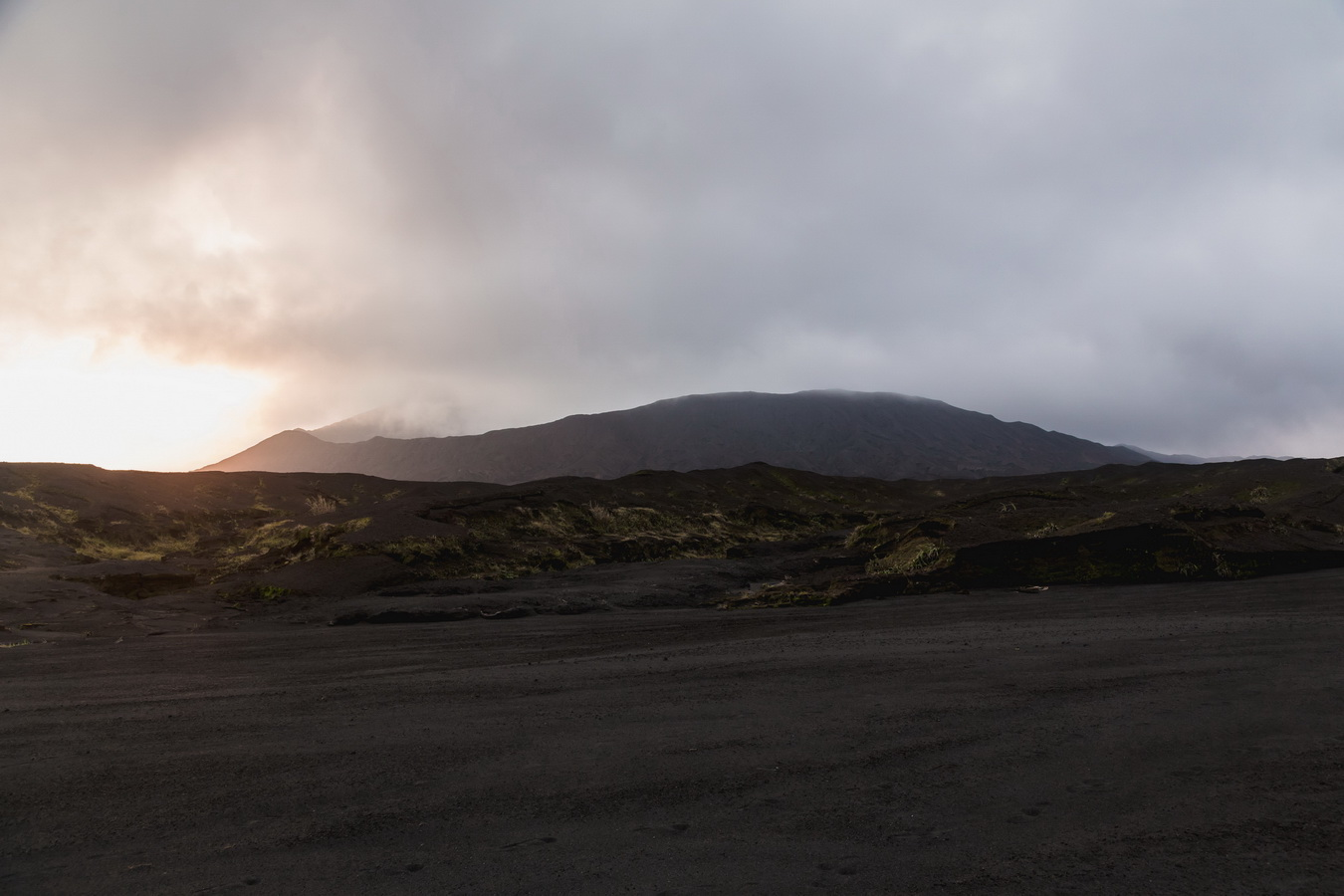 sunset,lava fields,clouds,benbow,west camp,crater,volcano,Ambrym, Vanuatu